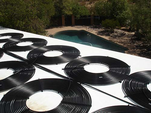 Home Flat Roof Pool Heating Installation